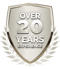over 20 years of experience badge